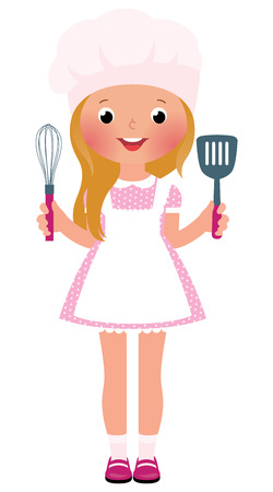 whisk: Stock Vector illustration of a smiling girl cook
