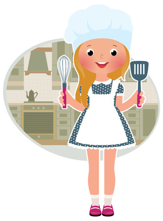 preparing food: Stock Vector illustration of cute little girl cook in the kitchen Illustration