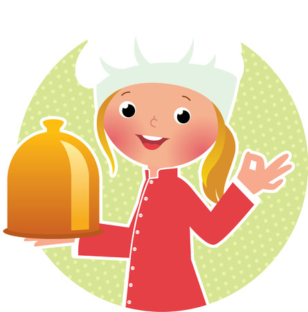 little chef: Stock vector illustration of a cute girl chef with a hot dish Illustration