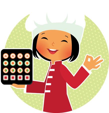 在庫ありと寿司のプレートを保持している笑顔のシェフのベクトル漫画イラスト  イラスト・ベクター素材