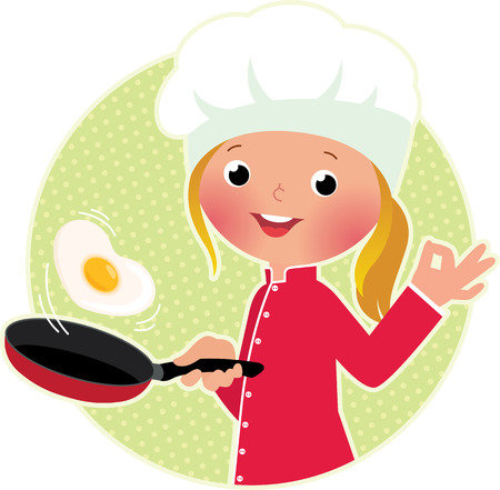 skillet: Stock vector illustration of a cute girl chef flipping an omelet or scrambled eggs Illustration