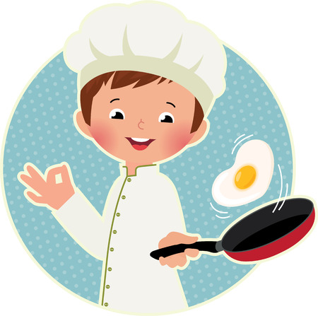 skillet: Stock vector illustration of a cute boy chef flipping an omelet or scrambled eggs
