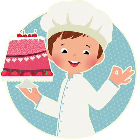 prepare: Stock vector illustration of a cute chef holding a plate with cake Illustration