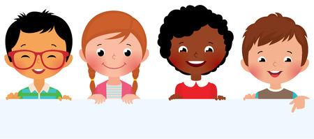 Ilustración Imagen vectorial de los niños lindos que sostienen una bandera en blanco