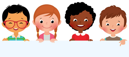 multicultural group: Stock Vector illustration of cute kids holding a blank banner