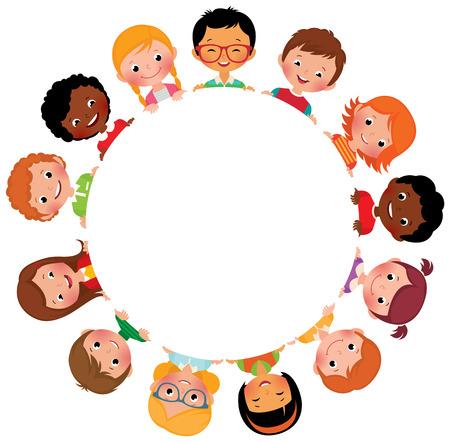 girotondo bambini: Illustrazione vettoriali di bambini amici da tutto il mondo intorno al cerchio bianco