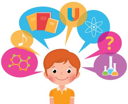 Cartoon boy student different sciences Vector