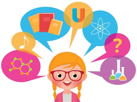 sciences: Cartoon girl student of studying different sciences
