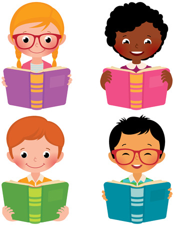Stock Vector cartoon illustration of kids of different nationalities read books Vettoriali