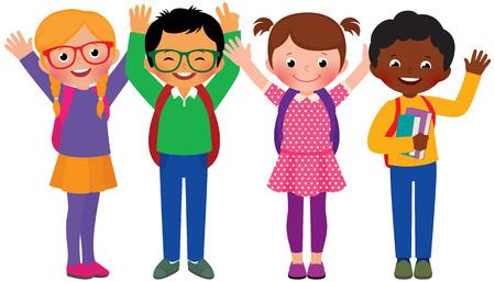 Stock Vector cartoon illustratie van een groep kinderen studenten