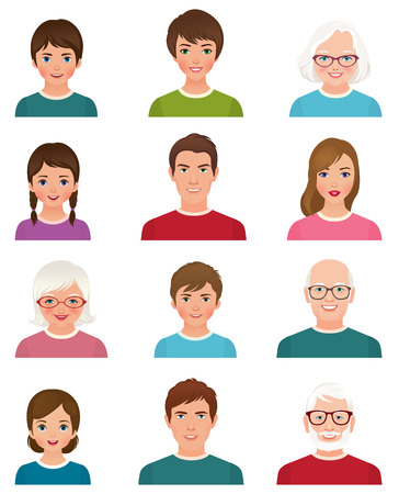 Stock vector illustration cartoon avatars of people of different ages isolated on white background