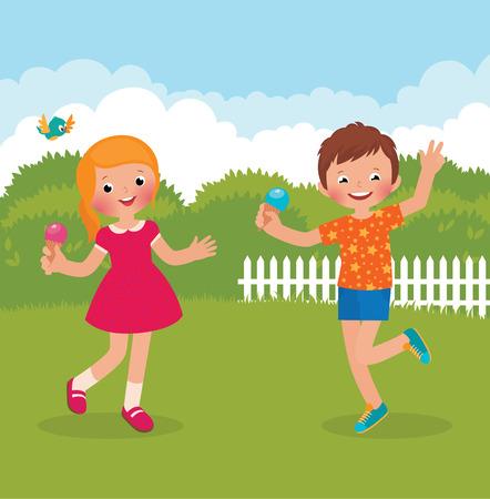 kids having fun: Stock Vector cartoon illustration of kids having fun outdoors in summer