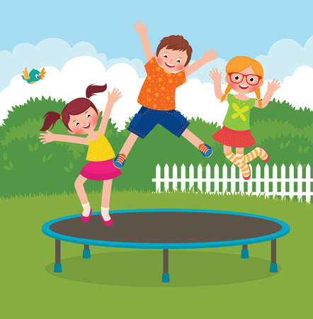 トランポリンでジャンプ面白い子供たちの株式ベクトル漫画イラスト  イラスト・ベクター素材