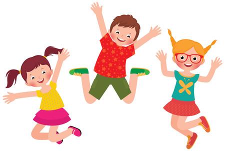 在庫ありベクトル漫画イラスト ジャンプ ハッピー子供の白い背景の分離