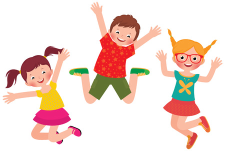 Stock Vector cartoon illustration of happy children jumping isolated on white background