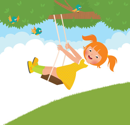 summer cartoon: Stock Vector cartoon illustration of a girl on a swing in the summer