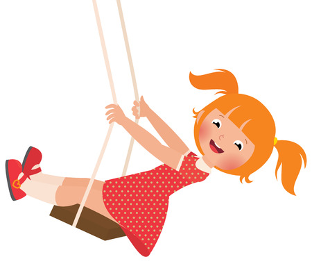 Stock Vector cartoon illustration of a redhead girl on a swing