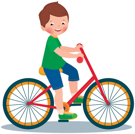Stock Vector cartoon illustration of a boy child rides a bike
