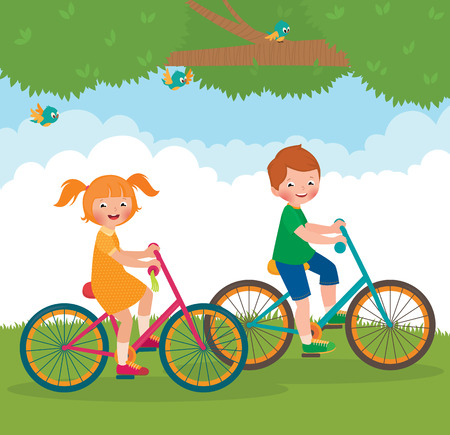 Stock cartoon illustration of two friends boy and girl ride bikes Vettoriali