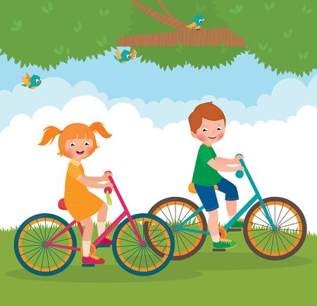 Stock cartoon illustratie van twee vrienden jongen en meisje rit fietsen