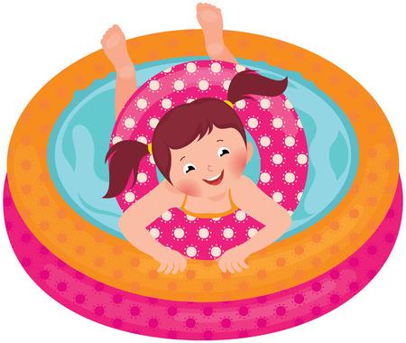 girls bathing: Stock Vector cartoon illustration of a little girl splashing in the summer inflatable pool