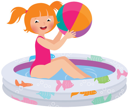 inflatable ball: Stock Vector cartoon illustration of a child girl with a ball in an inflatable pool Illustration