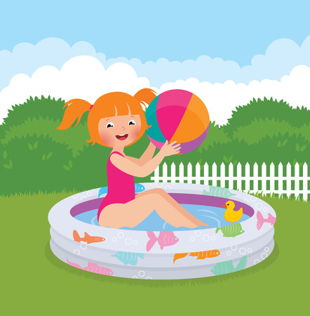 Stock Vector cartoon illustration of a little girl splashing in an inflatable pool in his backyard Illustration