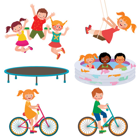 kids playing: Stock Vector cartoon illustration of summer children activities