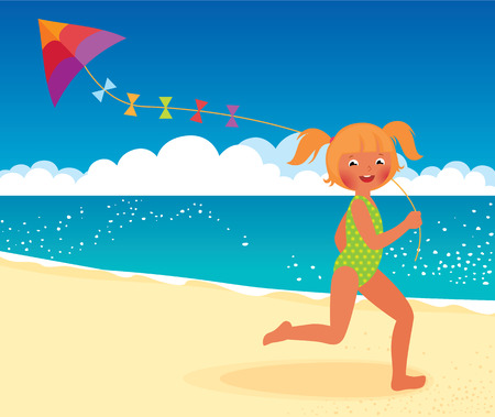 kite: Stock Vector cartoon illustration of a girl running with a kite on the beach