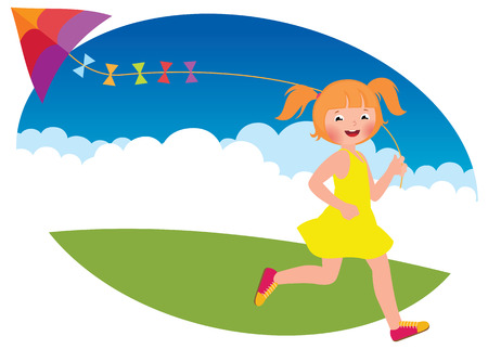 runs: Stock Vector cartoon illustration of a child girl with a kite runs