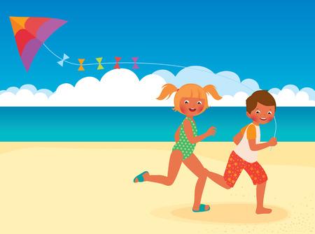 Stock Vector cartoon illustration of kids running with kite on the beach Vector