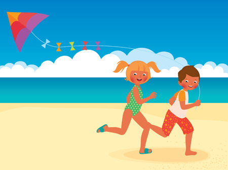 kite: Stock Vector cartoon illustration of kids running with kite on the beach
