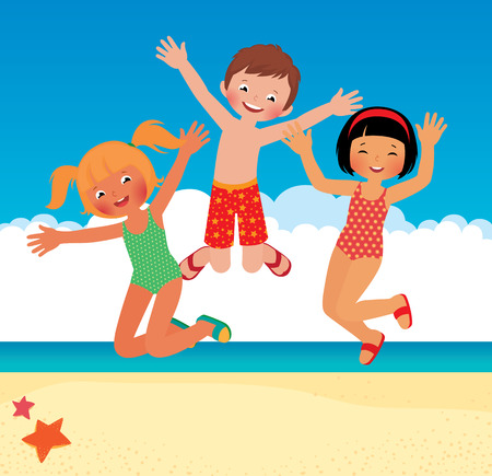kids playing water: Stock vector cartoon illustration Funny children on the beach Illustration