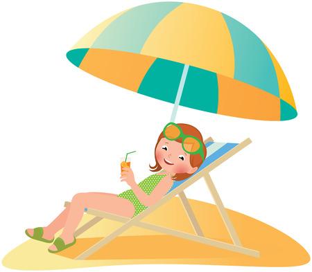 Foto Stock cartoon illustrazione Ragazza sulla spiaggia in una sedia a sdraio