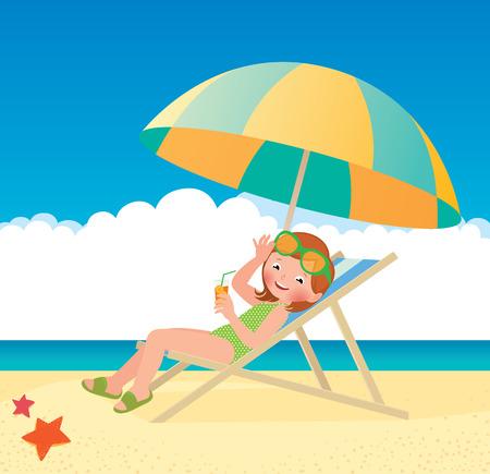 plage: Stock Vector cartoon illustration of a girl sunbathes lying on a sun lounger on the beach