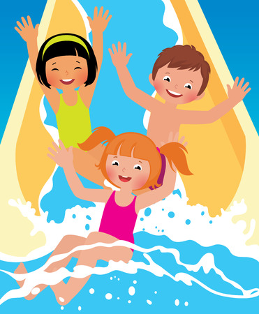 Stock vector cartoon illustration сhild boys and girl playing in water park in summer
