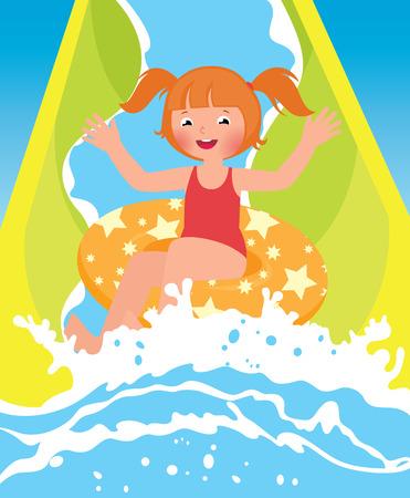 Children girl playing in water park in summer