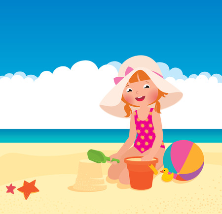 Stock Vector cartoon illustration of a girl playing on the beach