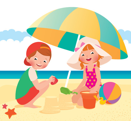 enfant maillot de bain: Stock cartoon illustration vectorielle Enfants jouant sur la plage Illustration
