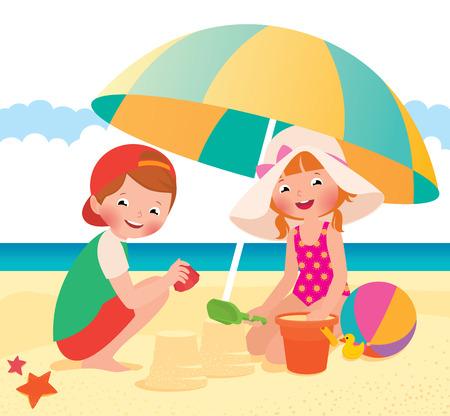 enfant maillot de bain: Stock cartoon illustration vectorielle Enfants jouant sur la plage Illustration