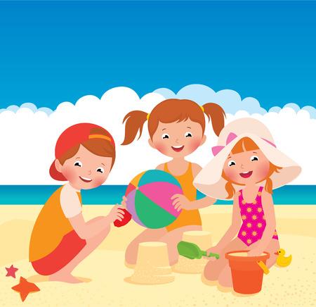 Stock vector cartoon illustration Three friends playing on the beach Иллюстрация