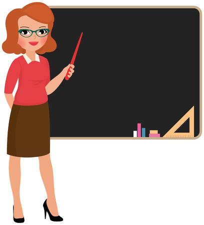 Stock Vector cartoon illustration teacher at the blackboard Vettoriali