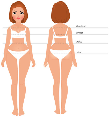 nude woman standing: Stock vector cartoon illustration woman in Full length front and back for measurement of parameters body