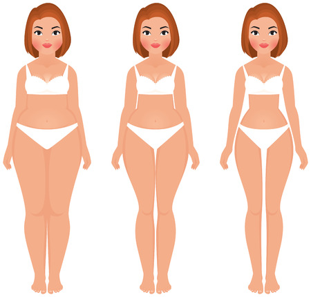 Stock vector cartoon illustration fat to slim women weight loss transformation front
