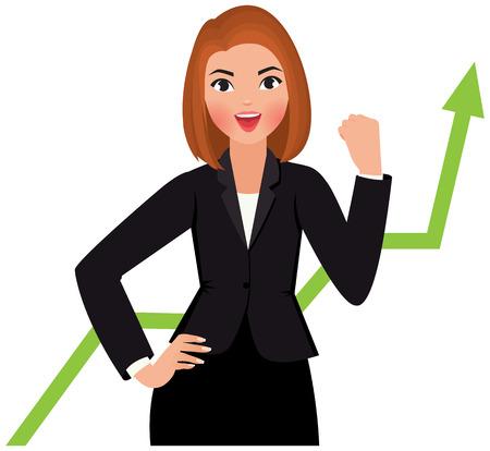 白い背景に分離されたスーツのビジネス女性が幸せな成功