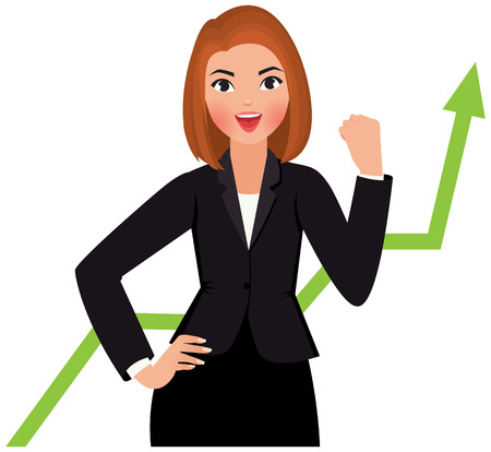 Business woman in a suit isolated on a white background is happy success Vettoriali