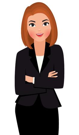 Jovem mulher de negócios da vector ilustração dos desenhos animados com os braços cruzados isolado no fundo branco Ilustração