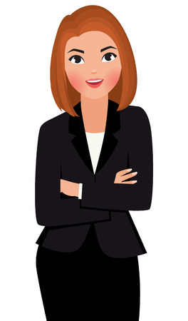 Stock vector cartoon illustration young business woman with arms folded isolated on white background