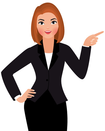hand pointing: Stock Vector cartoon illustration of a young business woman isolated on a white background points hand at something