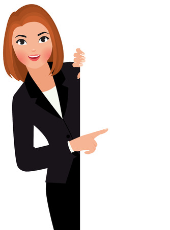person holding sign: Stock vector cartoon illustration young businesswoman in suit holding large blank white sign.